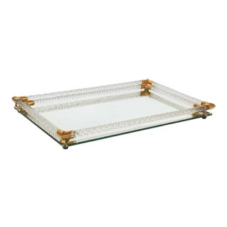 Vanity Mirror Tray with Murano Glass Rope Gallery For Sale