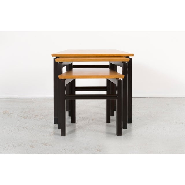 Wood Set of Three Edward Wormley for Dunbar Nesting Tables For Sale - Image 7 of 10