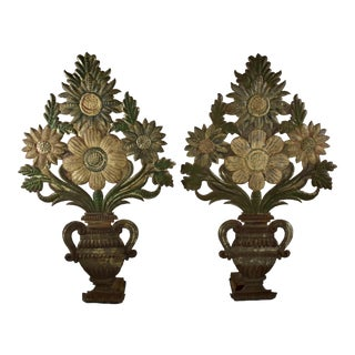 Italian Tôle Peinte Floral Urn Painted Metal Garnitures - a Pair For Sale
