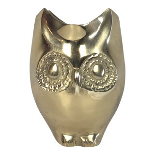 Vintage Brass Owl Planter/Vase For Sale