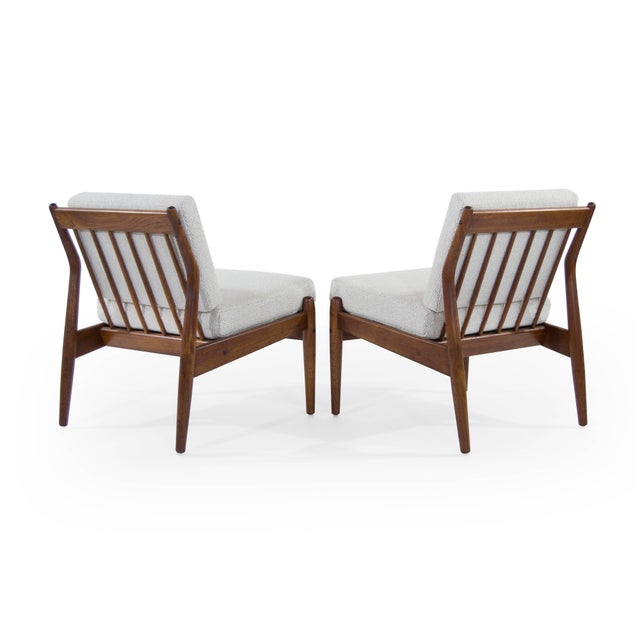 Mid 20th Century Scandinavian Modern Wool Upholstered Teak Slipper Chairs - a Pair For Sale - Image 5 of 10
