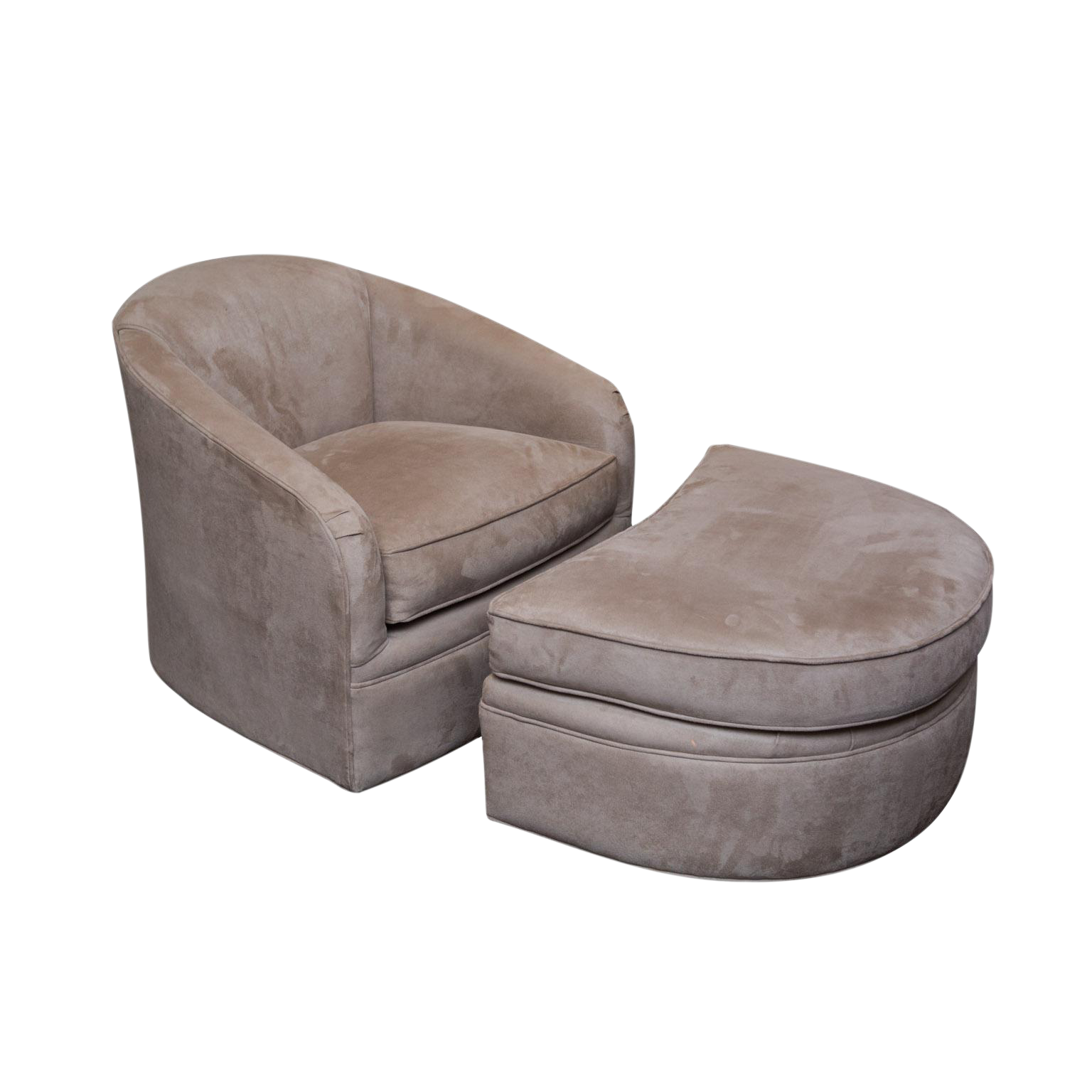 Maurice Villency Ultra Suede Swivel Chair Ottoman Chairish