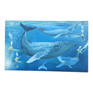 """Humpback Whales"" Canvas by Howard John Besnia For Sale"