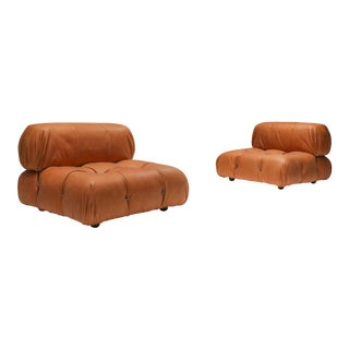 Camaleonda Lounge Chairs in New Cognac Leather by Mario Bellini For Sale