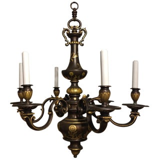 E F Caldwell Six-Light Flemish Style Bronze Gilded Chandelier, Circa 1920s For Sale
