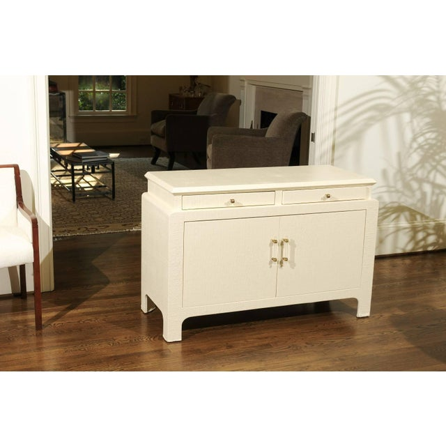 Mid-Century Modern Gorgeous Restored Raffia Cabinet by Harrison-Van Horn in Cream Lacquer For Sale - Image 3 of 11