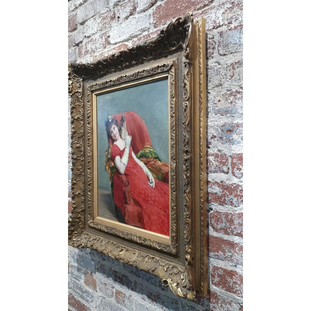 Jean Joseph Weerts - Portrait of a Woman in Red W/A Fan- Oil Painting C1880s For Sale - Image 9 of 11