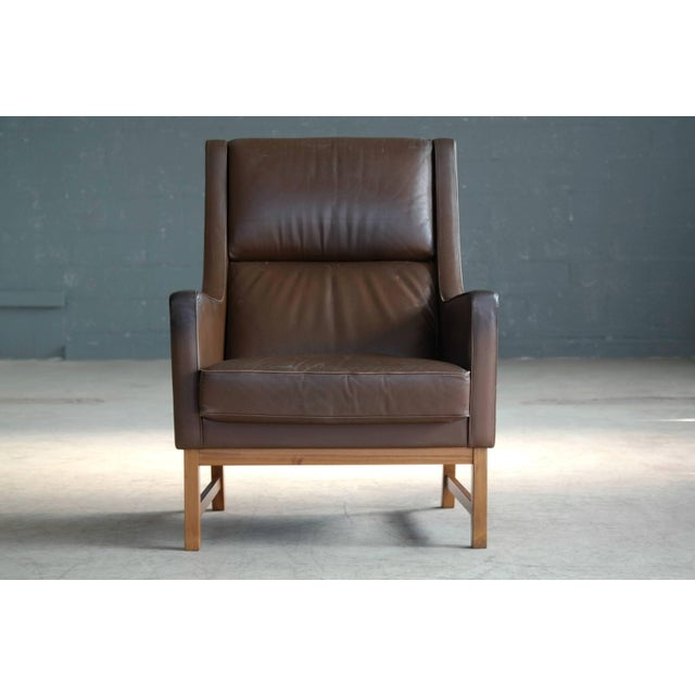 Mid-Century Modern Midcentury Kai Lyngfeldt Larsen Style High Back Lounge Chair in Brown Leather For Sale - Image 3 of 9