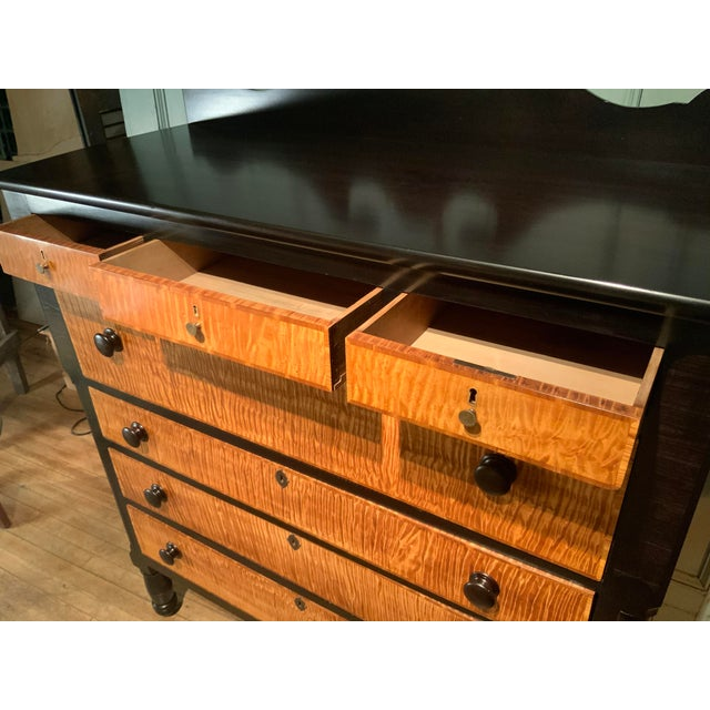Mid 19th Century 19th Century American Empire Ebonized and Tiger Maple Tall Chest For Sale - Image 5 of 9