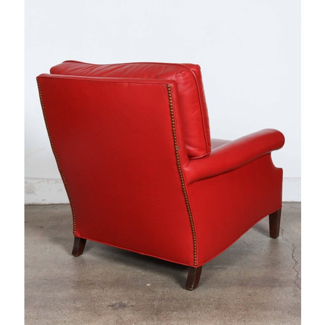 Pair of Red Leather French Club Armchairs For Sale - Image 4 of 12