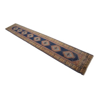 Hand-Knotted Oushak Runner Rug. Distressed Turkish Long Runner 2′ 8″× 15′11″