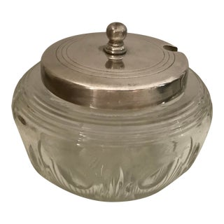 Vintage Cut Crystal Jam Pot With Silver Plated Lid With Spoon Slot For Sale