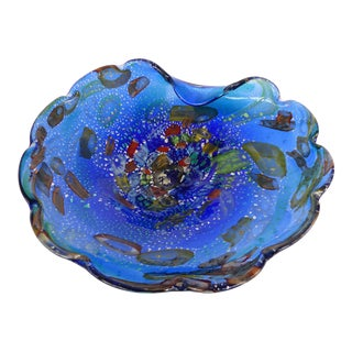 Murano Tutti Fruitti Art Glass Bowl in Blue