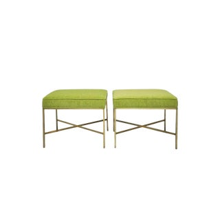 Brass X-Base Stools with Chartreuse Upholstery by Paul McCobb - a Pair For Sale