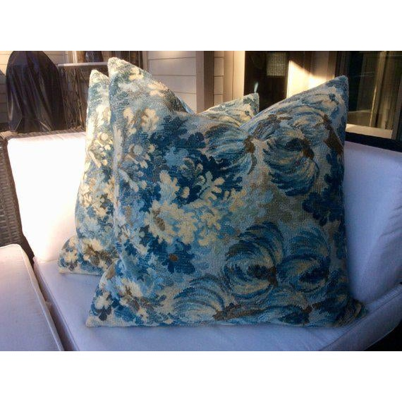 """Simply STUNNING! A pair of Brunschwig and Fils cut velvet grospoint pillows in """"Twilight"""" (aqua, teal blue and beige)...."""
