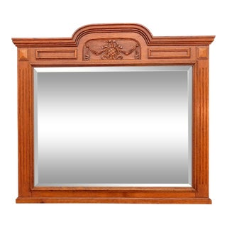 Antique Hand Carved Oak Wall Mirror For Sale