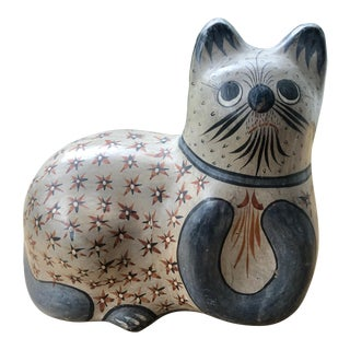 Vintage Mexican Ceramic Pottery Hand Painted Lucky Tonala Cat Sculpture For Sale