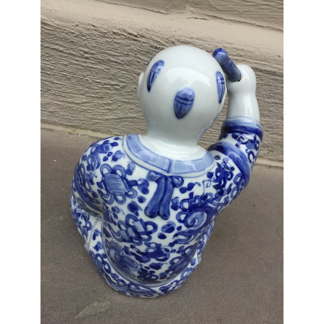 1970's Chinoiserie Blue and White Porcelain Sculpture Baby Buddha With Drum For Sale In Chicago - Image 6 of 9