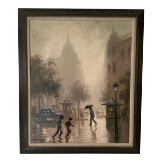 1960s Nestor Rufino Rainy Day Cityscape Painting For Sale