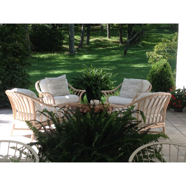 Wood Vintage McGuire Bamboo Lounge Chairs - Set of 4 For Sale - Image 7 of 8