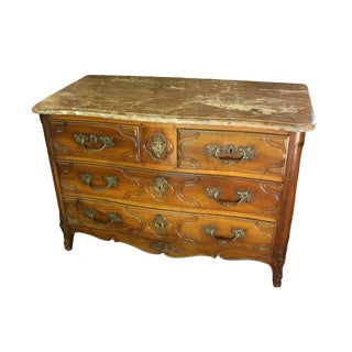French Parisien Marble Top Walnut Commode For Sale