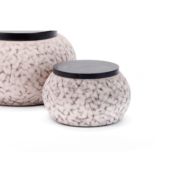 Contemporary Light Charcoal Handmade Patterned Earthenware Small Round Box With Lacquer Lid by Gilles Caffier For Sale - Image 3 of 5