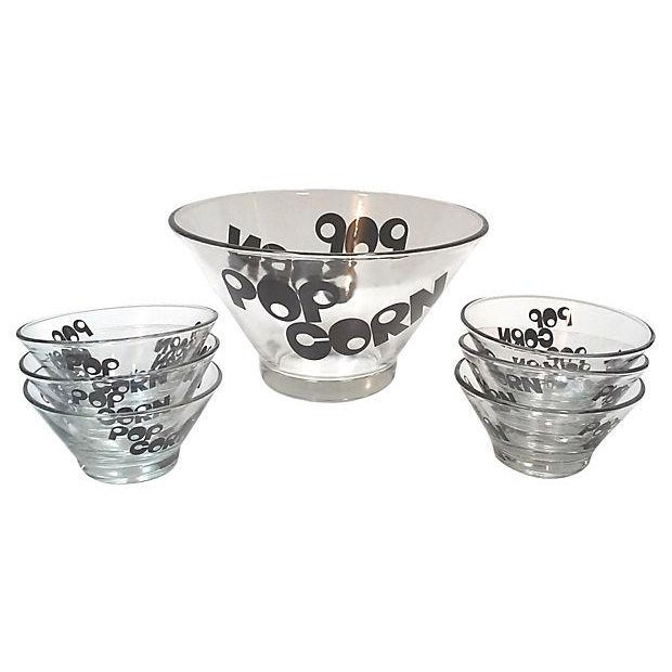 Mid-Century Glass Popcorn Bowls - Set of 9 For Sale