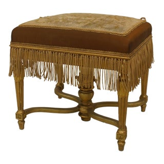 19th Century Vintage French Louis XVI Style Gilt Bench For Sale