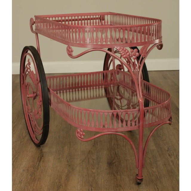 Metal Salterini Vintage Ornate Wrought Iron 2 Tier Bar Cart For Sale - Image 7 of 13