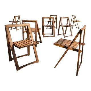 Set of 8 Wooden Folding Chairs, Brazil, 1950s For Sale