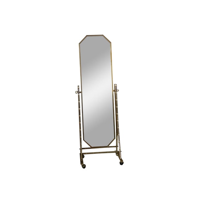 French Regency Style Faux Brass Bamboo Floor Length Mirror For Sale