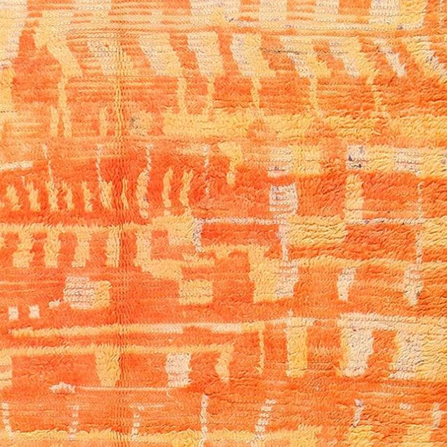 Mid 20th Century Vintage Moroccan Orange Wool Rug - 4′6″ × 6′6″ For Sale - Image 5 of 6