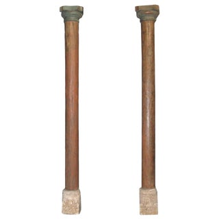 1900s Vintage Indian Teak & Stone Columns - a Pair For Sale