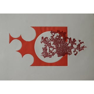 Abstract Orange Wood Block Print For Sale