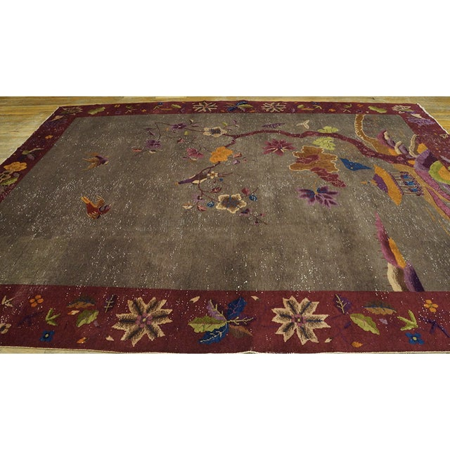 """Greige Antique Chinese Art Deco Rug 8'10""""x11'6"""" For Sale - Image 8 of 13"""