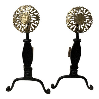 1900s Virginia Metalcrafters Brass Medallion Cast Iron Fireplace Andirons - a Pair For Sale
