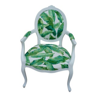 Green Tropical Leaf Upholstered Armchair