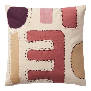 """Justina Blakeney X Loloi Appliqued Pillow with Hand Embroidery, Ivory / Multi - 18"""" x 18"""" Cover with Down Pillow For Sale"""