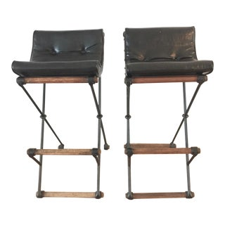 Original Cleo Baldon Campaign Iron & Oak Barstools - A Pair For Sale