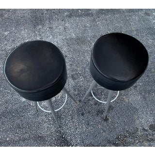 Modern Black Leather Bar Stools Made in Italy Preview