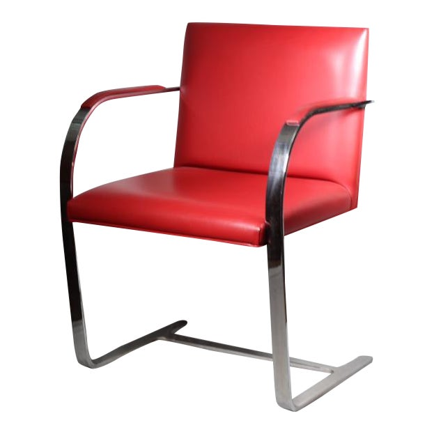 Red Leather Brno Flat Bar Armchair by Gordon International - Image 1 of 7