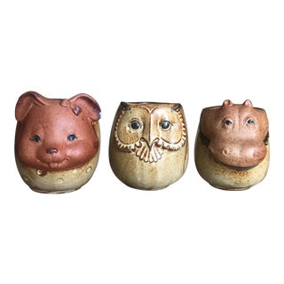 Bunny, Owl, Hippo Children's Stoneware Mugs - Set of 3