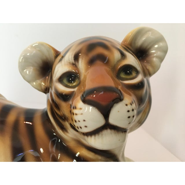 Brown Large Scale Mid Century Italian Hand Painted Majolica Resting Tiger For Sale - Image 8 of 13