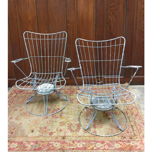 White 1960s Vintage Homecrest Mid Century Modern Iron Patio Chairs-a Pair For Sale - Image 8 of 8