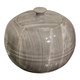 Carved Gray Marble Lidded Modernist Vessel For Sale