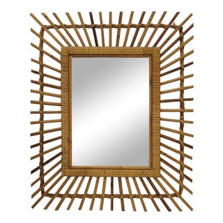 Mid-Century French Bamboo Wall Mirror