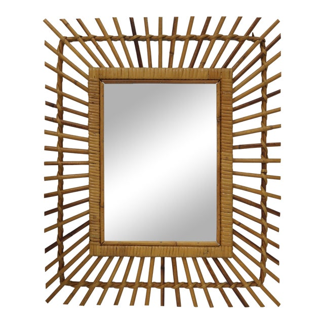Mid-Century French Bamboo Wall Mirror For Sale