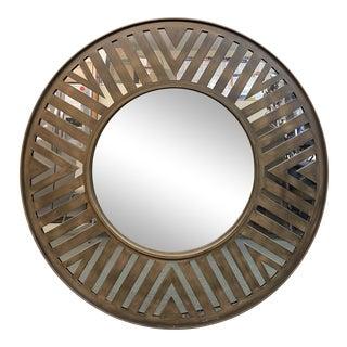 Contemporary Bronze Finish Round Mirror For Sale