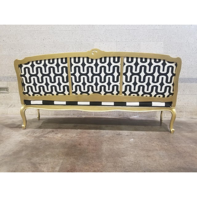 Fabric 1950s Vintage Victorian Black and White Striped Sofa For Sale - Image 7 of 11
