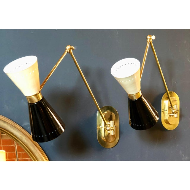 Hollywood Regency 1960s Italian Lacquer and Brass Sconces - a Pair For Sale - Image 3 of 11